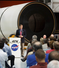 Trent Nelson  |  The Salt Lake Tribune NASA's Daniel Dumbacher spoke to ATK employees as ATK and NASA announced savings made in manufacturing the solid rocket boosters for NASA's Space Launch System (SLS) Tuesday October 2, 2012 in Promontory, Utah.