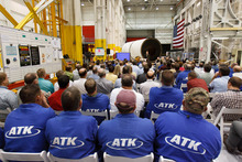 Trent Nelson     The Salt Lake Tribune NASA's Boosters Manager for the Space Launch System (SLS), Alex Priskos, speaks to ATK employees Tuesday October 2, 2012 in Promontory, Utah.