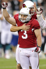 Arizona Cardinals kicker Jay Feely (3) celebrates his winning field goal against the Miami Dolphins during overtime of an NFL football game, Sunday, Sept. 30, 2012, in Glendale, Ariz. The Cardinals won 24-21. (AP Photo/Paul Connors)