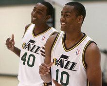 Steve Griffin | The Salt Lake Tribune   Jazz players Jeremy Evans and Alec Burks laugh as they are photographed during Jazz media day in Salt Lake City on Oct. 1, 2012.