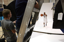 Steve Griffin | The Salt Lake Tribune   New Jazz guard Randy Foye throws a pass as he is photographed during Jazz media day in Salt Lake City on Oct. 1, 2012.