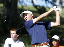 Al Hartmann     The Salt Lake Tribune Syracuse High School's Cameron Spever makes a drive on the final round of the 5A Boys Golf High School State Championship at River Bend Golf Course in  Riverton.