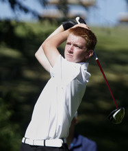 Al Hartmann     The Salt Lake Tribune Lone Peak High School's Cameron Webb makes a drive on the final round of the 5A Boys Golf High School State Championship at River Bend Golf Course in  Riverton.