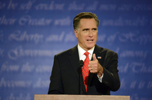 Republican presidential nominee Mitt Romney speaks during the first presidential debate with President Barack Obama at the University of Denver, Wednesday, Oct. 3, 2012, in Denver. (AP Photo/The Denver Post, John Leyba) MAGS OUT; TV OUT; INTERNET OUT