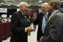Senator Orrin Hatch (R-UT), left, and former Senator Alan Simpson from Wyoming, center, talk with Congressman Scott Tipton, right, in Spin Alley at the first 2012 Presidential Debate at the University of Denver in Denver, Colorado on October 3, 2012. Kathryn Scott Osler, The Denver Post