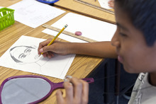 Chris Detrick  |  The Salt Lake Tribune Fifth-grader Alan Hernandez-Lopez works at drawing a self portrait during the Beverley Taylor Sorenson Arts Learning Program at Lincoln Elementary School, 450 East 3700 South, Tuesday October 2, 2012.