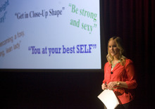 Kim Raff | The Salt Lake Tribune Lindsay Kite gives a presentation designed to shatter the stereotypical beliefs about women's beauty at Hillside Middle School in Salt Lake City.