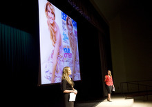 Kim Raff | The Salt Lake Tribune (left) Lexie and Lindsay Kite give a presentation designed to shatter the stereotypical beliefs about women's beauty at Hillside Middle School in Salt Lake City on Sept. 19, 2012.