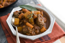 Using tender sirloin tips instead of stew meat helps make this Speedy Beef and Butternut Stew a weeknight friendly dish. (AP Photo/Matthew Mead)