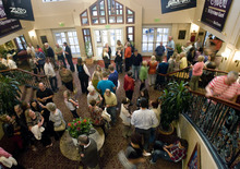 Kim Raff | The Salt Lake Tribune People gather in the lobby for a sold out show of