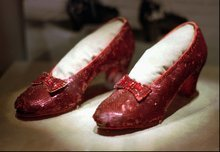 FILE - In this April 10, 1996 file photo, the ruby slippers worn by Judy Garland in the 1939 film
