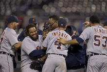 Detroit Tigers players celebrate following a baseball game against the Kansas City Royals at Kauffman Stadium in Kansas City, Mo., Monday, Oct. 1, 2012. (AP Photo/Orlin Wagner)
