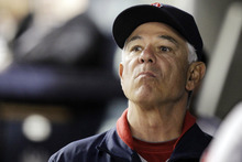 Boston Red Sox manager Bobby Valentine looks toward the outfield during their 10-2 loss to the New York Yankees in their baseball game at Yankee Stadium in New York, Monday, Oct. 1, 2012. (AP Photo/Kathy Willens)