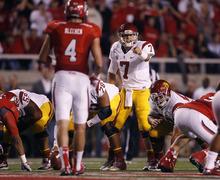 Scott Sommerdorf  |  The Salt Lake Tribune              USC Trojans quarterback Matt Barkley (7) calls out line protection signals during first-half play against Utah on Oct. 4, 2012, in Salt Lake City.