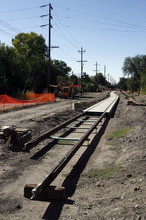 Francisco Kjolseth  |  The Salt Lake Tribune Tracks to a new street car continue their extension eastward near Fairmont Park. The American Planning Association announced Wednesday that the Fairmont-Sugar House area is among the