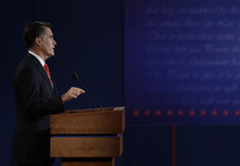Republican presidential nominee Mitt Romney makes his closing statement during the first presidential debate with President Barack Obama at the University of Denver, Wednesday, Oct. 3, 2012, in Denver. (AP Photo/David Goldman)