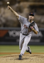 Detroit Tigers starting pitcher Justin Verlander throws to the Los Angeles Angels during the fourth inning of a baseball game in Anaheim, Calif., Saturday, Sept. 8, 2012. (AP Photo/Chris Carlson)