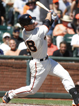 San Francisco Giants' Buster Posey follows through on an RBI single against the Los Angeles Dodgers during the first inning of a baseball game in San Francisco, Saturday, Sept. 8, 2012. (AP Photo/George Nikitin)
