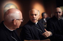 Associated Press file photo Archbishop Salvatore Cordileone, center, speaks with other members of the church during a press conference held at St. Mary's Cathedral in San Francisco. In July, Pope Benedict XVI selected the Cordileone to replace Archbishop George Niederauer, left, who is retiring in October. (AP Photo/Michael Short, File)