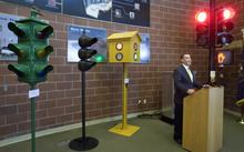 Paul Fraughton |  The Salt Lake Tribune A display of the evolution of traffic signals, beginning with a replica of the 1912 prototype, has been created in the public lobby of the Utah Department of Transportation Traffic Operations Center in Salt Lake City.