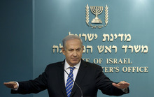 FILE -  In this Feb. 22, 2012 file photo, Israeli Prime Minister Benjamin Netanyahu gives a press conference at the Prime Minister's office in Jerusalem. Signs are growing that Israeli Prime Minister Benjamin Netanyahu will soon call parliamentary elections months ahead of schedule, seeking to capitalize on a wave of popularity and a fragmented opposition to guarantee his hold on power for several more years. While Netanyahu has not made any formal announcement, a number of members of his coalition, including his foreign minister and the speaker of parliament, have signaled that elections are imminent. An official decision could come in the next week or two as parliament opens its fall session, with February the likely date of the vote.(AP Photo/Bernat Armangue, File)