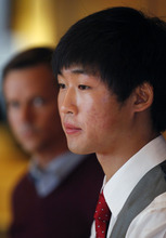 Al Hartmann  |  The Salt Lake Tribune Speedskater Simon Cho admits at a press conference in Salt Lake City Friday October 5 that he tampered with a rival's skate at the world championships last year. He said that he was pressured into the act by short-track coach Jae Sun Chun.