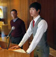 Al Hartmann  |  The Salt Lake Tribune Speedskater Simon Cho admits at a press conference in Salt Lake City Friday October 5 that he tampered with a rival's skate at the world championships last year. He said that he was pressured into the act by short-track coach Jae Sun Chun. His legal representative John Wunderli, is at left.