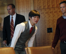 Al Hartmann  |  The Salt Lake Tribune Speedskater Simon Cho admits at a press conference in Salt Lake City Friday October 5 that he tampered with a rival's skate at the world championships last year. He said that he was pressured into the act by short-track coach Jae Sun Chun. His legal representative John Wunderli, is at right.