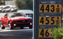 Motorists drive past a gas station in Los Angeles Thursday, Oct. 4, 2012. Motorists in California paid an average of $4.232 per gallon Wednesday. That is 45 cents higher than the national average and exceeded only by Hawaii among the 50 states. (AP Photo/Damian Dovarganes)