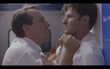 Courtesy photo Elder Dalton (Richard Dutcher, left) confronts a fellow missionary (Michael Buster) in the 2000 drama