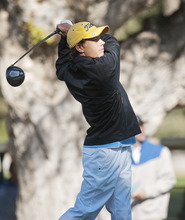 Sky View's Riley Archibald drives the ball while competing in the 4A Boys Golf High School State Championship at Logan Golf and Country Club Thursday. (Jennifer Meyers/Herald Journal)