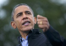 President Barack Obama speaks during a campaign event at Sloan's Lake Park, Thursday, Oct. 4, 2012, in Denver. (AP Photo/Pablo Martinez Monsivais)