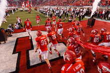 Trent Nelson  |  The Salt Lake Tribune The Utes take the field as Utah hosts USC on Oct. 4, 2012 at Rice-Eccles Stadium in Salt Lake City.