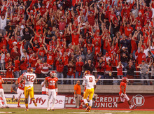 Trent Nelson  |  The Salt Lake Tribune Utah fans cheer as Utah defensive end Nate Fakahafua (8) scores the first touchdown of the game on a first-quarter USC turnover Oct. 4, 2012 at Rice-Eccles Stadium in Salt Lake City.