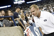 Chris Detrick  |  The Salt Lake Tribune Brigham Young Cougars head coach Bronco Mendenhall after the game at LaVell Edwards Stadium Friday September 28, 2012. BYU won the game 47-0.