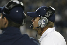 Chris Detrick  |  The Salt Lake Tribune Brigham Young Cougars head coach Bronco Mendenhall watches during the second half of the game at LaVell Edwards Stadium Friday September 28, 2012. BYU won the game 47-0.