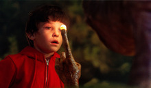 This undated publicity film image released by Universal Pictures shows Henry Thomas as Elliott and E.T. in a scene from director Steven Spielberg's