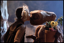 This undated publicity film image released by Universal Pictures shows Drew Barrymore as Gertie and E.T. in a scene from director Steven Spielberg's