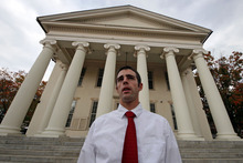 Joshua Harper, of State College, Pa.,  a member of the Jerry Sandusky jury, stands in front of the Centre County Courthouse in Bellefonte, Pa., on Friday, Oct. 5, 2012.  Harper, who has bachelor's and master's degrees from Penn State, said that he takes pride in having served on the jury, and that the guilty verdict was not a close call. He wants Sandusky