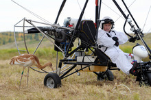 FILE - In this Wednesday Sept. 5, 2012 file photo Russian President Vladimir Putin waits in a motorized hang glider next to a Siberian white crane, on the Yamal Peninsula, in Russia.    Vladimir Putin turns 60-years old on Sunday, Oct. 7, 2012, and has recently sought to demonstrate his youthful vigor by many personal endeavors, but while he has shown creativity in his action-man stunts, the Russian president seems surprisingly vulnerable to the vagaries of oil prices. (AP Photo/RIA-Novosti, Alexei Druzhinin, Presidential Press Service, file)