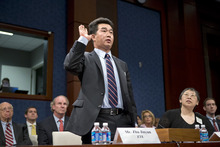 FILE - In this Sept. 13, 2012, file photo, Zhu Jinyun, ZTE Corporation's senior vice president for North America and Europe, is sworn in on Capitol Hill in Washington, prior to testifying before the House Intelligence Committee as lawmakers probe whether Chinese tech giants' expansion in the U.S. market pose a threat to national security. In a report to be released Monday, Oct. 8, 2012, the House Intelligence Committee is warning that China's two leading technology firms pose a major security threat to the United States. The panel says regulators should block mergers and acquisitions in the U.S. by Huawei Technologies Ltd. and ZTE Corp. It also advises that U.S. government systems not include equipment from the two firms, and that private U.S. companies avoid business with them.  (AP Photo/J. Scott Applewhite, File)