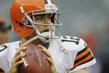 Cleveland Browns quarterback Colt McCoy warms up before an NFL football game between the New York Giants and the Cleveland Browns Sunday, Oct. 7, 2012, in East Rutherford, N.J. (AP Photo/Kathy Willens)