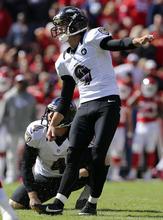 Baltimore Ravens kicker Justin Tucker (9) and holder Sam Koch (4) watch a field goal during the second half of an NFL football game against the Kansas City Chiefs at Arrowhead Stadium in Kansas City, Mo., Sunday, Oct. 7, 2012. (AP Photo/Ed Zurga)