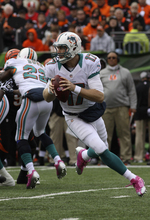 Miami Dolphins quarterback Ryan Tannehill drops back to pass against the Cincinnati Bengals in an NFL football game, Sunday, Oct. 7, 2012, in Cincinnati. (AP Photo/Tom Uhlman)