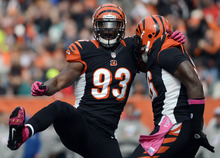 Cincinnati Bengals defensive end Michael Johnson (93) celebrates with defensive end Carlos Dunlap after sacking Miami Dolphins quarterback Ryan Tannehill in the first half of an NFL football game on Sunday, Oct. 7, 2012, in Cincinnati. (AP Photo/Michael Keating)