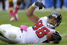 Atlanta Falcons tight end Tony Gonzalez reacts to being called down just short of the goal line during the first half of an NFL football game against the Washington Redskins in Landover, Md., Sunday, Oct. 7, 2012. (AP Photo/Susan Walsh)