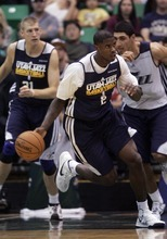 Kim Raff | The Salt Lake Tribune Marvin Williams dribbles down court during the Jazz Scrimmage at EnergySolutions Arena in Salt Lake City, Utah on October 6, 2012.