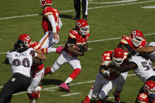Kansas City Chiefs running back Jamaal Charles (25) during the first half of an NFL football game against the Baltimore Ravens at Arrowhead Stadium in Kansas City, Mo., Sunday, Oct. 7, 2012. (AP Photo/Colin E. Braley)
