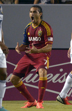 Real Salt Lake's Fabian Espindola reacts after scoring during the first half of their MLS soccer match against the Los Angeles Galaxy, Saturday, Oct. 6, 2012, in Carson, Calif. (AP Photo/Mark J. Terrill)