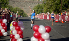 Danny Connolly nears the finish line of the 36th annual St. George Marathon on Saturday, Oct. 6, 2012.